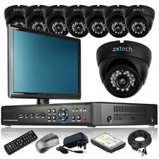 8 x Day Night Camera Full HD 8 CH DVR CCTV Package Motion Detection with Monitor