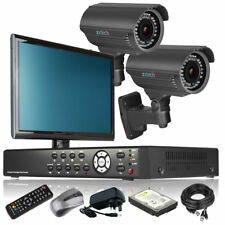 2 x Optical Zoom Camera HD-MI 4 CH DVR CCTV System Motion Detection with Monitor