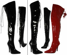 WOMENS LADIES FETISH KINKY STILETTO HEEL SEXY THIGH HIGH ZIP/HOOK LACE UP BOOTS