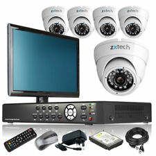 5 x LED IR Camera Full HD 8 CH DVR CCTV System Motion Detection with Monitor UK
