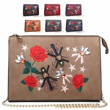 Ladies Embroidered Rose Clutch Bag Flower Shoulder Bag Bee Handbag Purse M7501