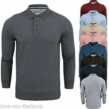 Mens Polo T Shirt Lincoln Long Sleeve Button Cotton Pique Casual Golf Collar Top