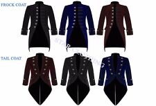 New Mens Steampunk Vintage Gothic Jacket Velvet Victorian Frock Coat / Tailcoat
