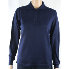 MAGLIA POLO DONNA TRE BOTTONI.LANA MERINOS 80% MADE IN ITALY TG.S-M-L-XL-XXL BLU