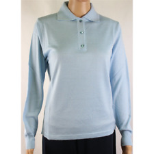 MAGLIA POLO DONNA 3 BOTTONI.LANA MERINOS 80% MADE IN ITALY S-M-L-XL-XXL CIELO