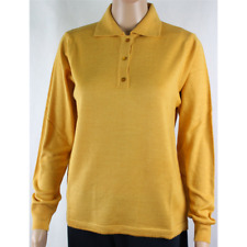 MAGLIA POLO DONNA 3 BOTTONI.LANA MERINOS 80% MADE IN ITALY S-M-L-XL-XXL GIALLO