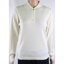 MAGLIA POLO DONNA 3 BOTTONI.LANA MERINOS 80% MADE IN ITALY S-M-L-XL-XXL PANNA