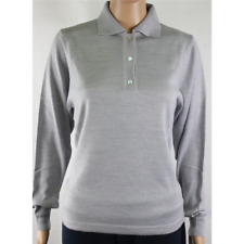 MAGLIA POLO DONNA 3 BOTTONI.LANA MERINOS 80% MADE IN ITALY S-M-L-XL-XXL PERLA
