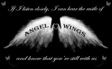 Angel Wings Wall Art Picture 'IF I Listen Closely' Quote Canvas Print Black
