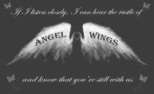 Angel Wings Wall Art Picture 'IF I Listen Closely' Quote Canvas Print Grey