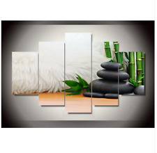 5 Piece Bamboo & Blackstones Painting On Canvas Home Decoration