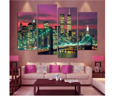 4 Piece New York Night Landscape Painting On Canvas Print Home Decoration