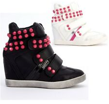 WOMENS LADIES WHITE BLACK STUDDED SHOES WEDGE HIGH TOP BOOTS SNEAKERS TRAINERS