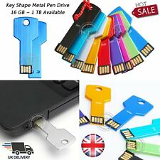 Flash Drive Key Shape Pen Drive Memory Storage USB 2.0 Metal 16/64/128 GB 1TB UK