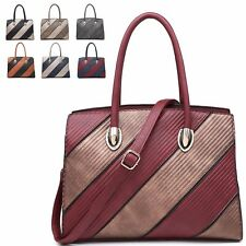 Ladies Two Tone Faux Leather Shoulder Bag Evening Party Handbag Tote MA34965