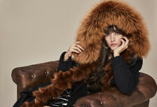 LUXUS ECHTPELZ ECHTFELL PARKA MANTEL FUCHS WASCHBÄR COAT REAL FOX RACCOON FUR
