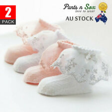 2 Pairs Lace Girls Ruffle Baby Princess Kids Ankle Socks Frilly Infant Toddler