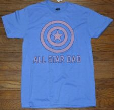 MARVEL Comics Captain America ALL STAR DAD Logo T-Shirt Tee Officially Licensed