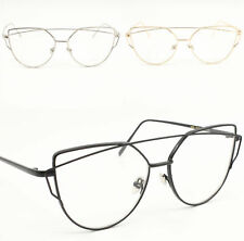 Womens Fashion Oversized Quality Metal Frame Clear Lens Cat eye Eye Glasses