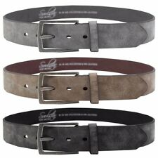 Mens Soulstar Vintage Brushed Metal Buckle Suede Leather Belt Size