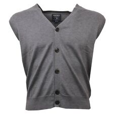 C9390  gilet uomo WOOLRICH grigio cardigan smanicato sleeveless sweater men