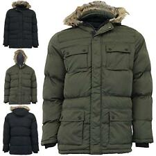 Mens Brave Soul Jackets Warm Quilted Padded Casual Coat Hooded Parka Hip Length