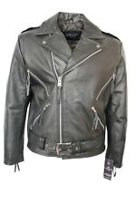 New Mens Black Classic Brando Biker Style Motorcycle Real Cowhide Leather Jacket