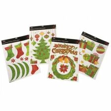 RED & GREEN CHRISTMAS XMAS GLITTER WINDOW DECORATION STICKERS DECOR HOME OFFICE