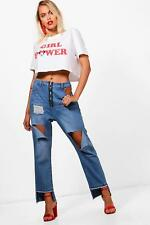 Boohoo Georgie Zip Fly Extreme Ripped Straight Leg Jeans para Mujer