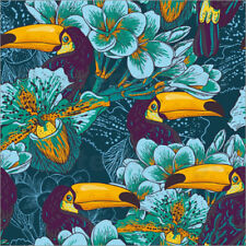 Cuadro de madera Tropical flowers with toucan