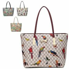 Ladies Faux Leather Handbag Parrot GD-Print Shoulder Bag Handbag Tote MA34937