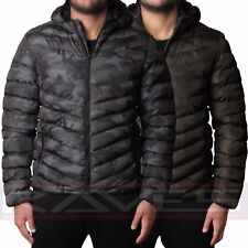 Mens Padded Quilted Hooded Jacket Coat Warm Winter Designer Camouflauge Puffa