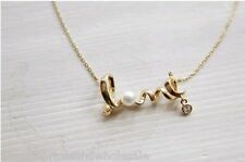 Gold/Silver Tone - LOVE - With Crystal And Pearl Necklace