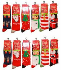 5 PAIRS WOMEN LADIES CHRISTMAS TREE SOCKS SANTA REINDEER NOVELTY SOCKS UK 4-7
