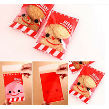 100Pcs Christmas Santa Cellophane Party Treat Candy Biscuits Gift Bags/