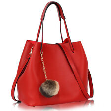 Ladies Sturdy Quality Faux Leather Hobo Bag With Faux-Fur Charm and Free Pouch