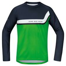 Maillot Gore Bike Wear Power Trail Manga Larga Negro-Verde Neon