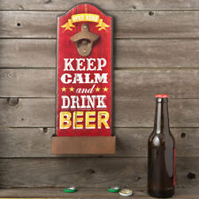 "Wall Mounted Bottle Opener with Catch Tray ""Keep Calm and Drink Beer"""