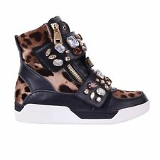 DOLCE & GABBANA Crystals Leopard High-Top Zip Sneakers Shoes Black 05875