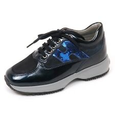 D0156 sneaker bimba HOGAN JUNIOR INTERACTIVE scarpa paillettes blu shoe kid