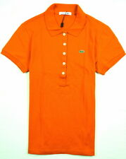 AUTHENTIC WOMEN'S LACOSTE SHORT SLEEVE STRETCH POLO ORANGE TOP SHIRT 8,10,12,14