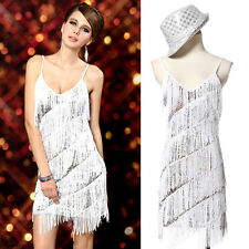 Sexy Women Evening Cocktail Party Club Ballroom Lace Dance Sequins Tassel Dress