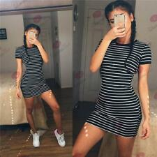 Summer new women 's casual dress round neck striped short - sleeved skirt TW83