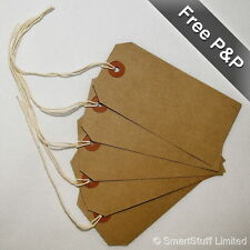 Quality Merit Parcel Strung Tags Buff 96 x 48mm Tie on Craft Luggage Labels
