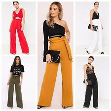 Wide Leg High Tie Waisted Paper Bag Palazzo Flared Plain Trousers Pants UK 6-14