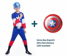 Captain America Dress for kids with Imported Shield and Plastic mask