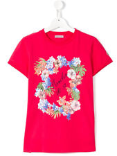 New Moncler Junior Girls 'Floral' Print T-shirt - Pink - RRP £60