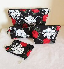 Skulls & Roses Pouches Toiletries Bag, Makeup Bag, Pencil Case, Coin Purse
