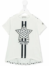 New Moncler Junior Girls 'Star' print and Star Patch T-shirt - White - RRP £65