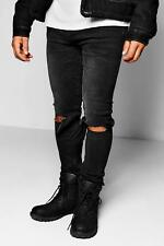 Boohoo Black Skinny Fit Ripped Knee Jeans para Hombre